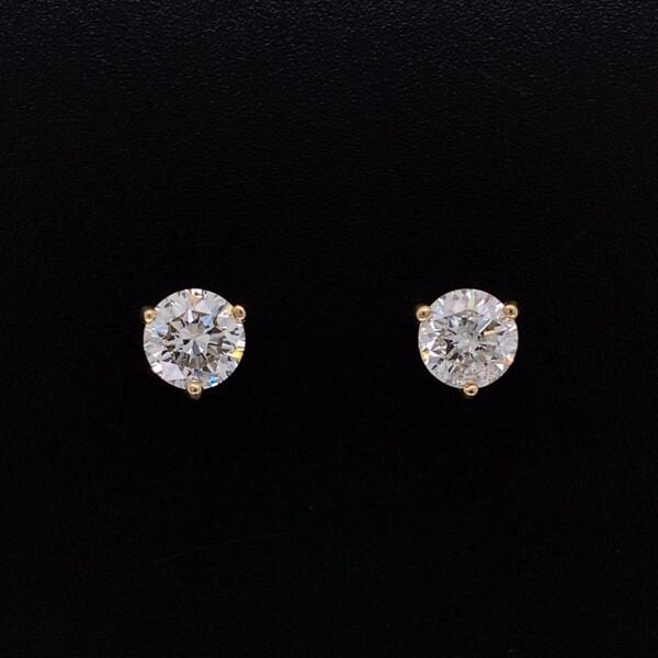 Closeup photo of 1.27tcw Round Brilliant Diamond Studs G/H-SI2