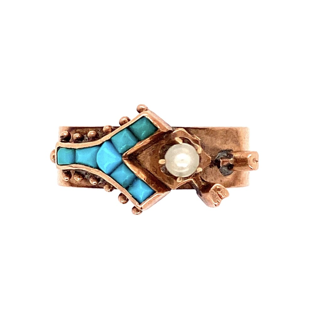 Image 2 for 14K RG English Band with Turquoise & Pearl 2.8g