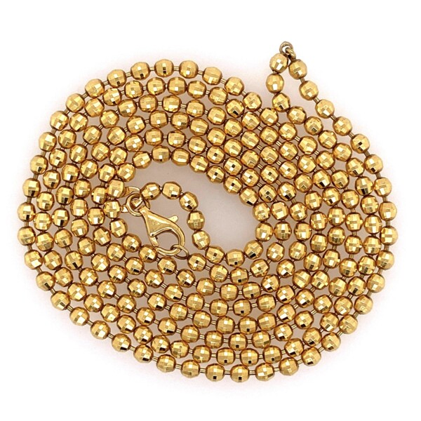 """Closeup photo of 14K YG Polished Faceted Fancy Bead Chain 24.7g, 34"""""""