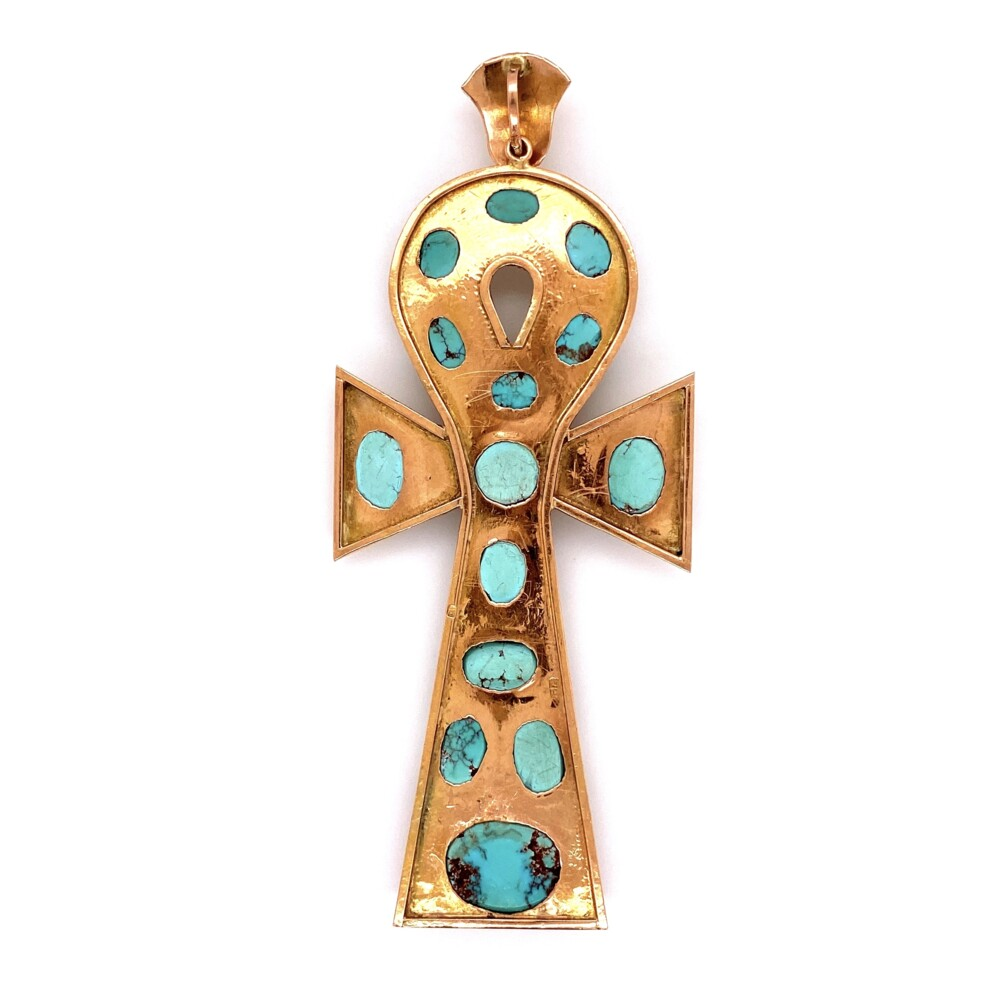 Image 2 for 12K RG Large Ankh with Persian Turquoise 15.3g, Saudi Arabia