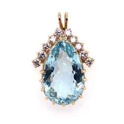 Closeup photo of 14K YG 20ct Pear Shape Aquamarine Pendant 1.20tcw Diamonds 9.0g