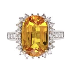 Closeup photo of 18K WG 4.00ct Long Cushion Yellow Sapphire GIA & .95tcw Diamond Ring, 5.6g