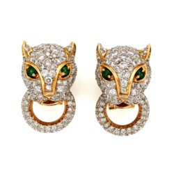 Closeup photo of 18K 2tone 7.00tcw Diamond Panther Door Knocker Earrings Cartier Style 17.7g