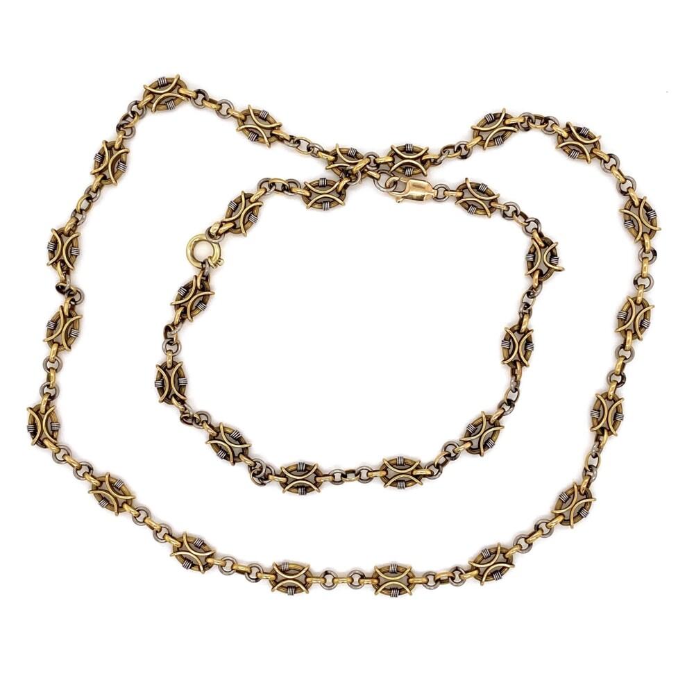"18K & Platinum Fancy Link Chain Necklace & Bracelet 26.6g, 23"""