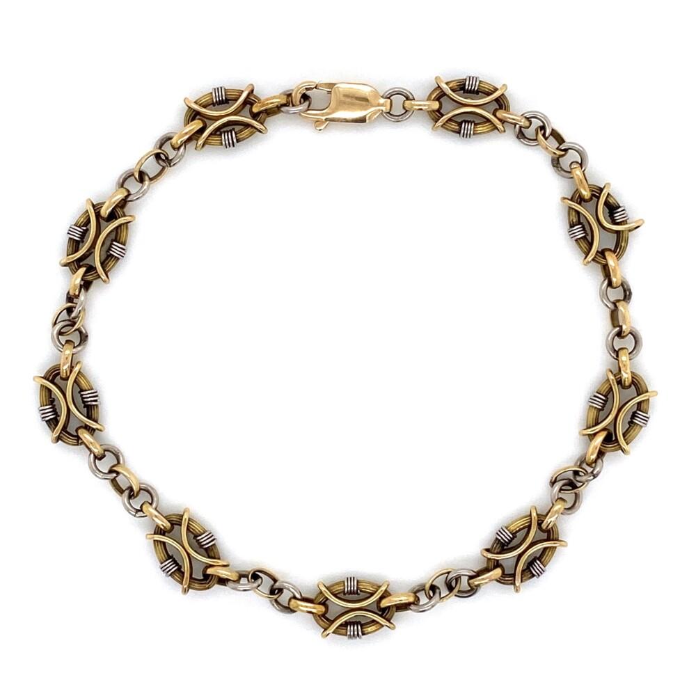 """Image 2 for 18K & Platinum Fancy Link Chain Necklace & Bracelet 26.6g, 23"""""""