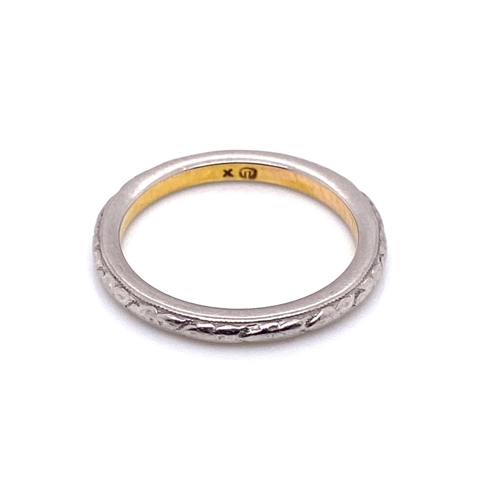 Image 2 for Platinum on 20K Gold Art Deco Engraved Band Ring 3.1g, s4.75