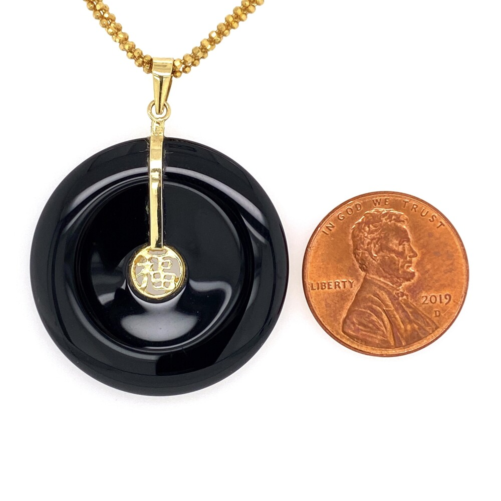 """Image 2 for 14K YG Chinese Onyx Disc Pendant with 4 Strand Chain 12.1g, 17.5"""""""