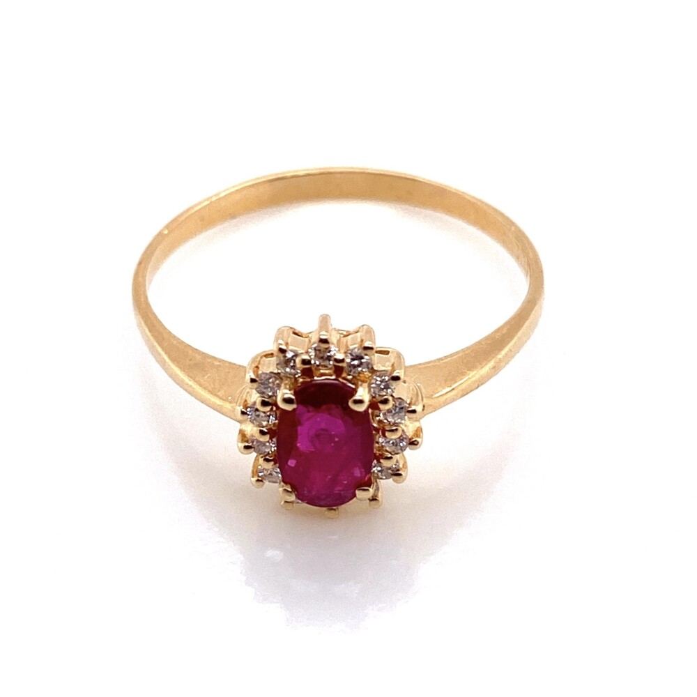 Image 2 for 14K YG .50ct Oval Ruby & .10tcw Diamond Ring 1.7g, s8