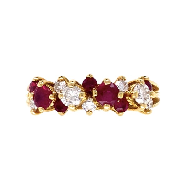 Closeup photo of 18K YG Fine .65tcw Ruby & .45tcw Diamond Cluster Band Ring 3.9g, s6.25