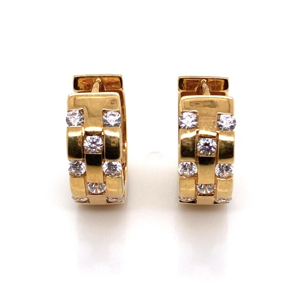 "Closeup photo of 14K YG Scattered .40tcw Diamond Huggie Hoops Earrings 5.7g, 5/8"" tall"