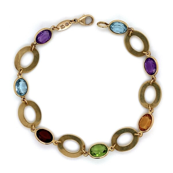 Closeup photo of 14K YG Italian Multi Gemstone Open Link Bracelet 6.5g, 7""