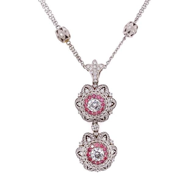 Closeup photo of 18K WG MAYOR'S Custom Double Drop Pendant White & Pink Diamonds 19.4g