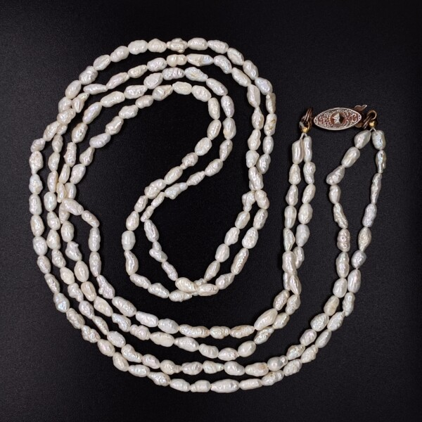 """Closeup photo of Double Strand Freshwater Pearl Necklace, Base Metal Clasp, 24"""""""