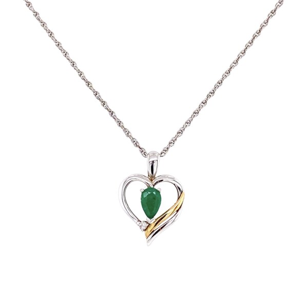 Closeup photo of 925 & 14K Open Heart Necklace with Emerald & Diamond 2.5g, 18""