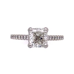 Closeup photo of 1.05ct Cushion Brilliant Diamond GIA H-SI2 in 18K WG Diamond Ring, s6