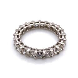 Closeup photo of Platinum 3.07tcw Round Brilliant Diamond Eternity Band Ring 5.2g, s6.75+