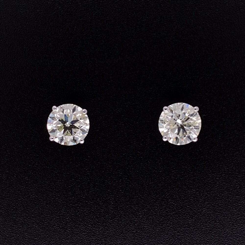 2.00tcw Round Brilliant Diamond Studs 6.3mm in 4 Prong Martini Post & Friction