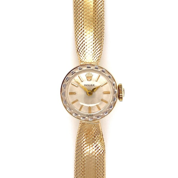 """Closeup photo of Rolex Ladies c1938 14K YG Silver Stick Dial Weave Bracelet 17.2g, 7"""""""