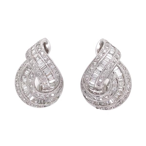 Closeup photo of 18K WG Knot Cluster Pave 4.50tcw Diamond Earrings 14.6g