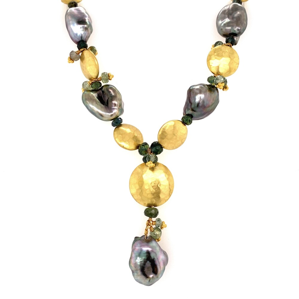 """18K YG Laura Gibson Black Pearl, Sapphire Necklace 26.6g, 16"""""""