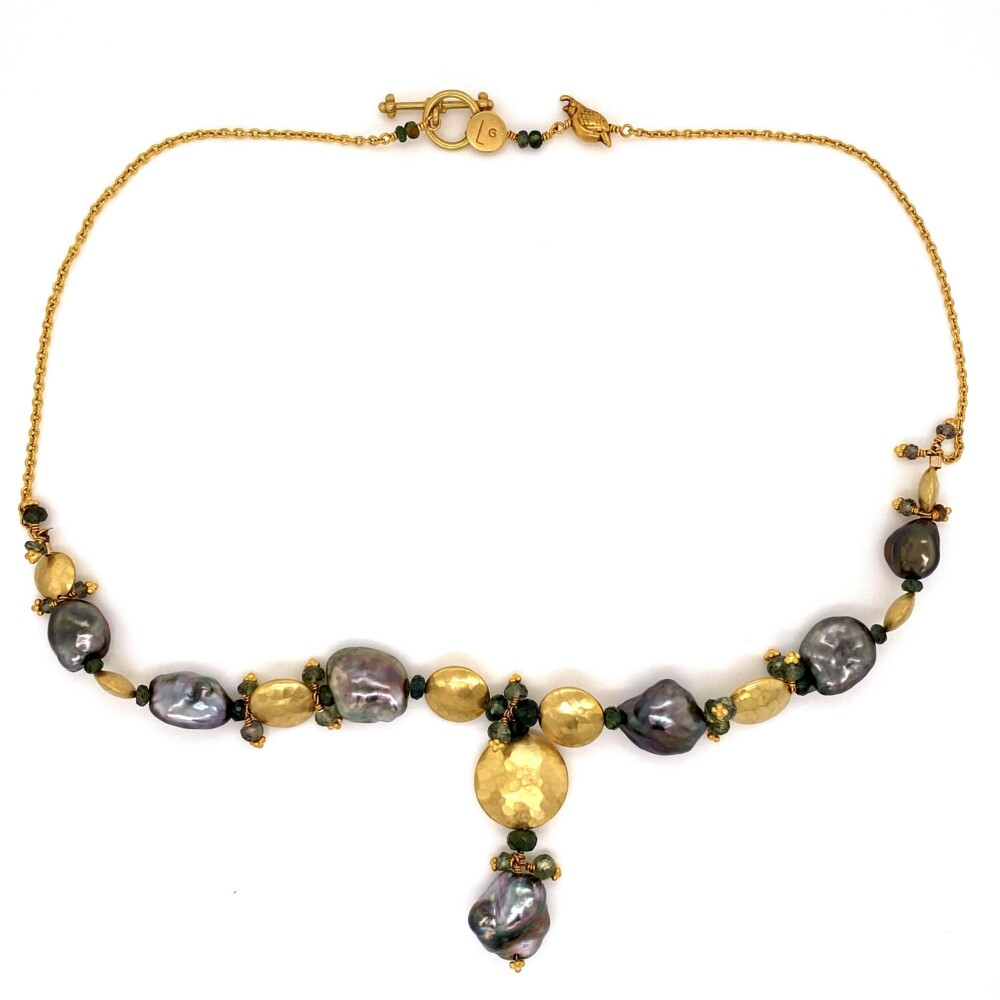 """Image 2 for 18K YG Laura Gibson Black Pearl, Sapphire Necklace 26.6g, 16"""""""