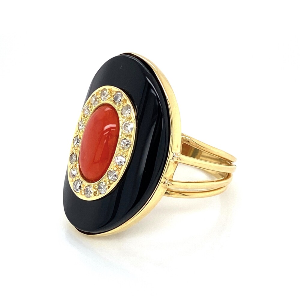 Image 2 for 18K YG Oval Coral, Diamond & Onyx Ring, Wire Shank 11.4g, s9.25