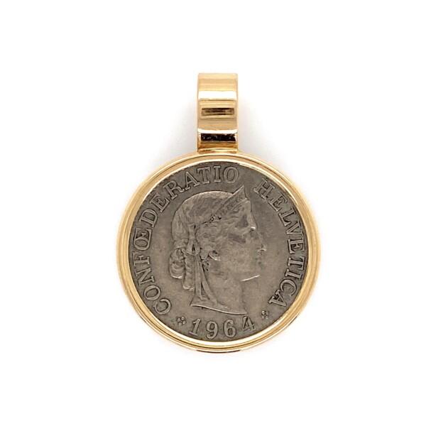 Closeup photo of 14K YG Bezel Coin Pendant 10 Swiss Rappen 4.3g