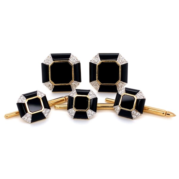 Closeup photo of 18K YG Onyx & .50tcw Diamond Cufflinks Stud Set 18.5g