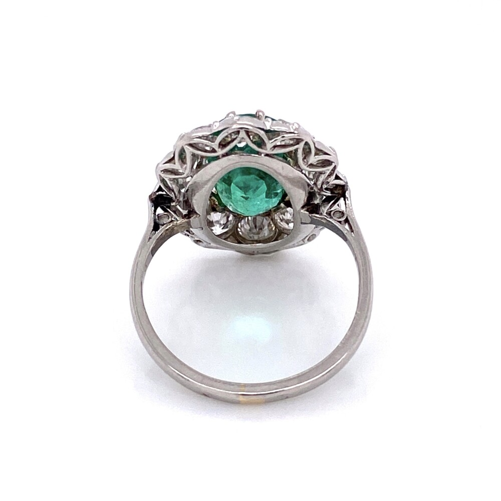 Image 2 for Palladium Art Deco 2.50ct Oval Emerald & Diamond Ring 5.6g, s6.5