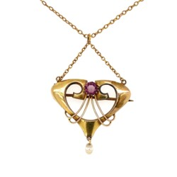 """Closeup photo of Art Nouveau Yellow Gold Necklace with Amethyst & Pearl 3.3g, 18"""""""
