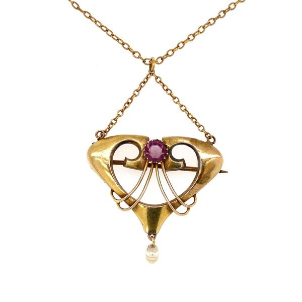 Closeup photo of Art Nouveau Yellow Gold Necklace with Amethyst & Pearl 3.3g, 18""