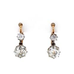 "Closeup photo of Platinum on Gold Victorian 2.20tcw Diamond Drop Earrings 3.2g, .6"""