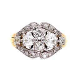 Closeup photo of Platinum on Gold Edwardian 1.90tcw Diamond Cluster Ring 7.3g, s8.75