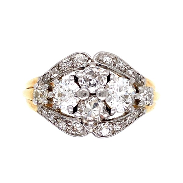 Closeup photo of Platinum on Gold Edwardian 1.90tcw Diamond Cluster Ring 7.3g, s8.75