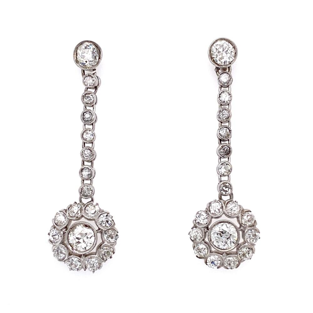 "Platinum Art Deco 4.04tcw Diamond Drop Earrings 6.9g, 1.5"""