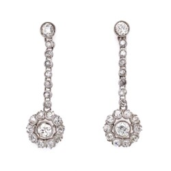Closeup photo of Platinum Art Deco 4.04tcw Diamond Drop Earrings 6.9g, 1.5""