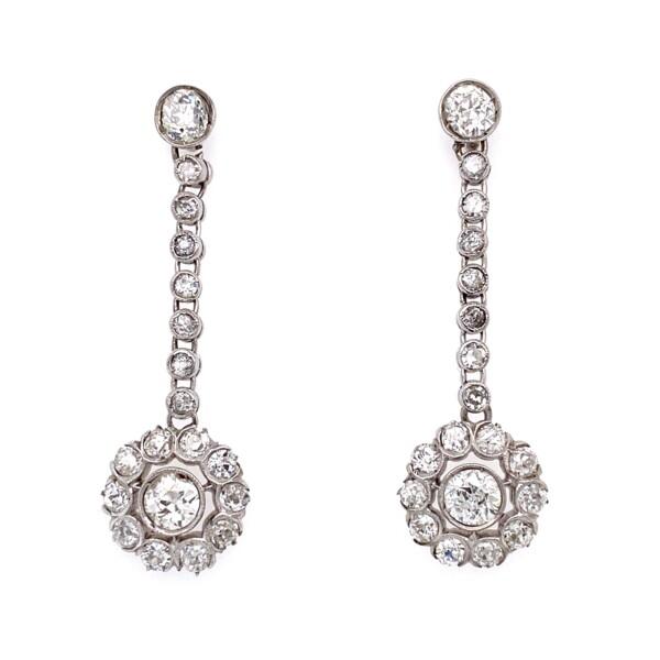 "Closeup photo of Platinum Art Deco 4.04tcw Diamond Drop Earrings 6.9g, 1.5"""