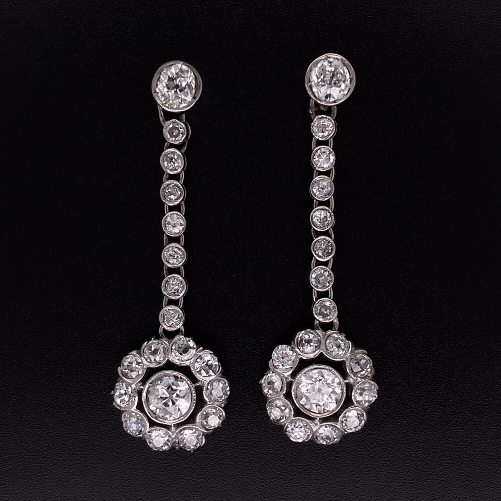 "Image 2 for Platinum Art Deco 4.04tcw Diamond Drop Earrings 6.9g, 1.5"""