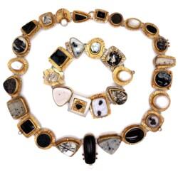 Closeup photo of 18K & Sterling Sydney Lynch Gemstone Necklace & Bracelet Set 211.9g
