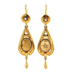 "Closeup photo of 18K YG Victorian Diamond Earrings with Enamel 8.6g, 2.3"""