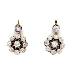 "Closeup photo of 14K YG Victorian 4.00tcw Diamond Cluster Earrings 7.3g, .75"" Diameter"