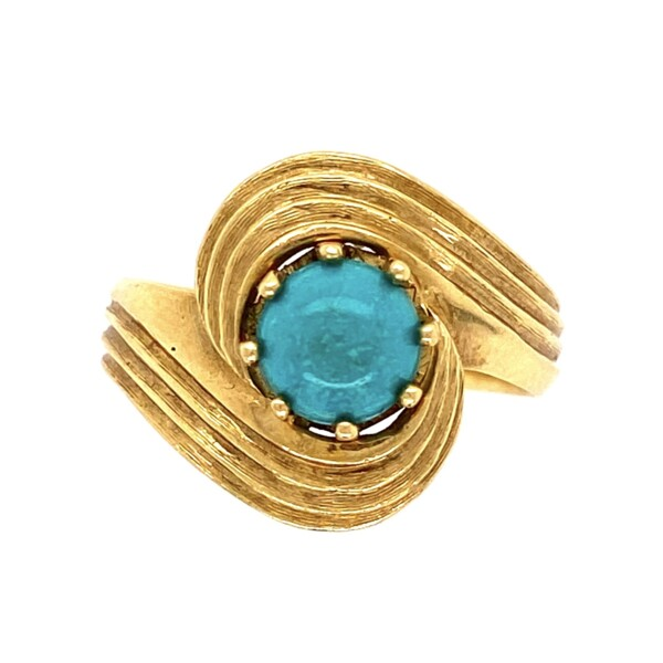 Closeup photo of 18K YG Italian Cabochon Turquoise Ring 5.3g, s6