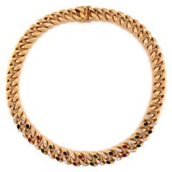 "Closeup photo of 14K YG Curb Link Rubies, Emeralds, Sapphires & Diamonds 93.3g, 17"""