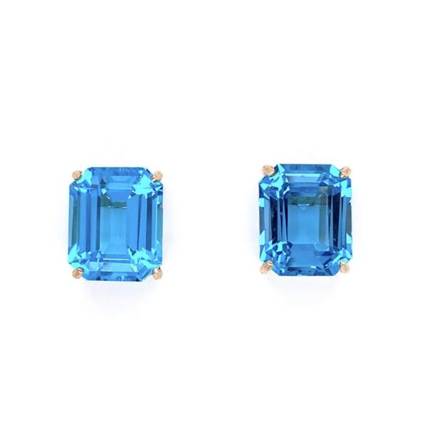 "Closeup photo of 14K YG Emerald Cut 10tcw Blue Topaz Earrings 3.9g, .5"""