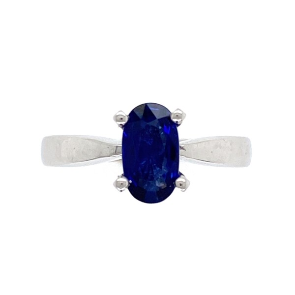 Closeup photo of 14K WG 1.11ct Long Oval Blue Sapphire Solitaire Ring 3.4g, s6.25