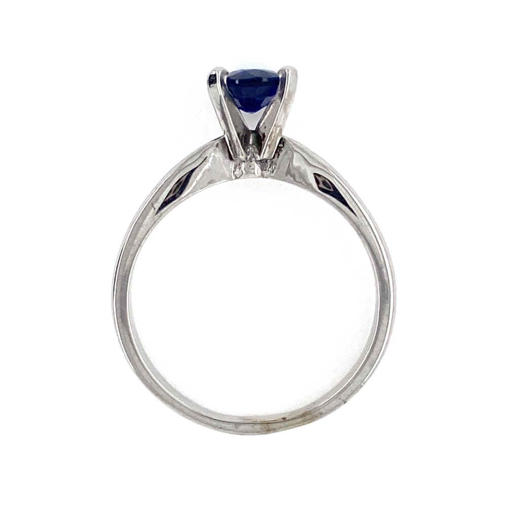 Image 2 for 14K WG 1.11ct Long Oval Blue Sapphire Solitaire Ring 3.4g, s6.25