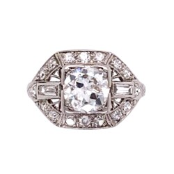 Closeup photo of Platinum Art Deco 1.42tcw Diamond Engraved, Filigree Ring 3.3g, s5