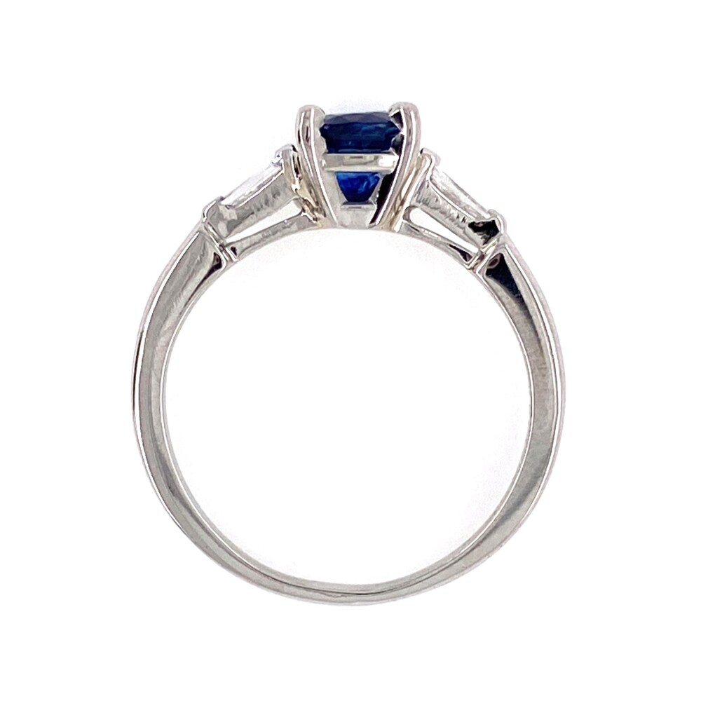 Image 2 for Platinum 1.00ct Round Sapphire & .11tcw Diamond Ring 4.3g, s6.5