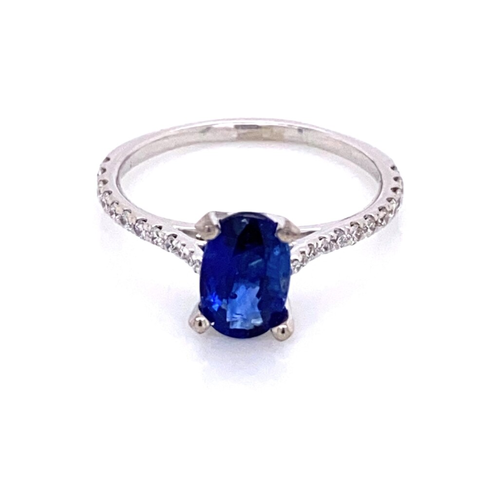 Image 2 for 14K WG 1.62ct Oval Sapphire & Pave Diamond Ring 2.5g, s6.5