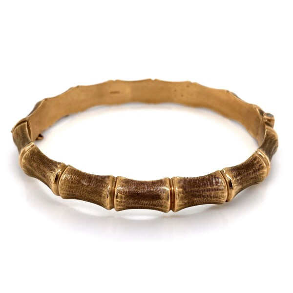 Closeup photo of 9K YG Bamboo Gold Bangle English Hallmarks 13.1g